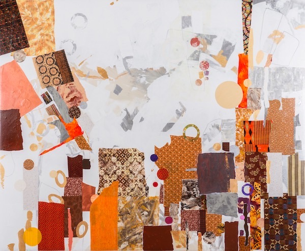 """Overture in Brown and Ivory,"" large abstract collage art by mixed media artist, Tom Hlas, Norfolk, Connecticut."