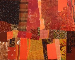 Tom Hlas Autumn Acres Mixed Media Painting using acrylic paint, torn paper, fabric and ribbon. 16x20 wood panel.