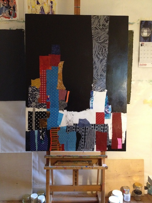 Tom Hlas black mixed media painting in progress